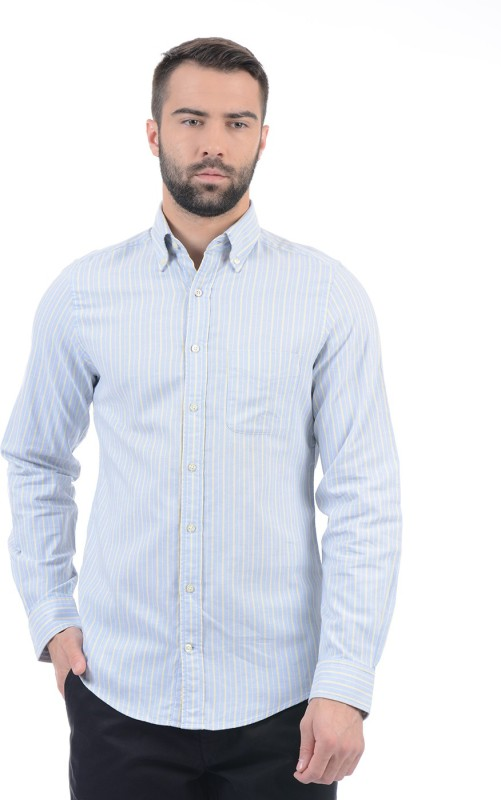 Gant Men Striped Casual Blue Shirt