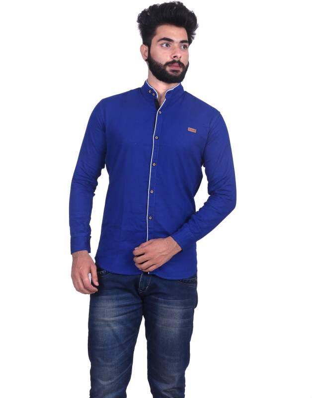 ROSSO FEM Men Solid Casual Blue Shirt