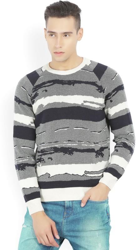 Wrangler Self Design Round Neck Casual Mens Black, White Sweater