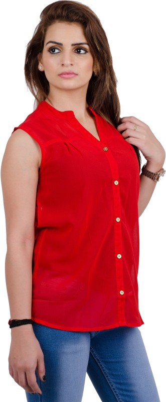 Fabrify Casual Sleeveless Self Design Women's Red Top