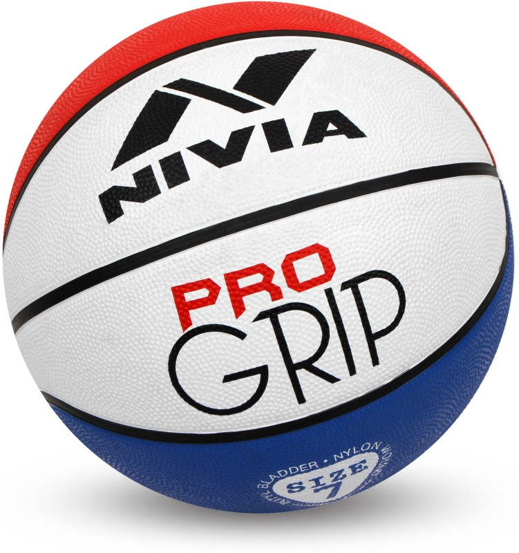 Nivia Pro Grip Basketball - Size: 7(Pack of 1, Red, Blue, White)