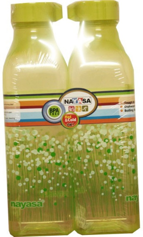Nayasa Square bottle 1000 ml Bottle(Pack of 2, Green)