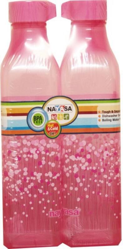 Nayasa square bottle 1000 ml Bottle(Pack of 2, Pink)