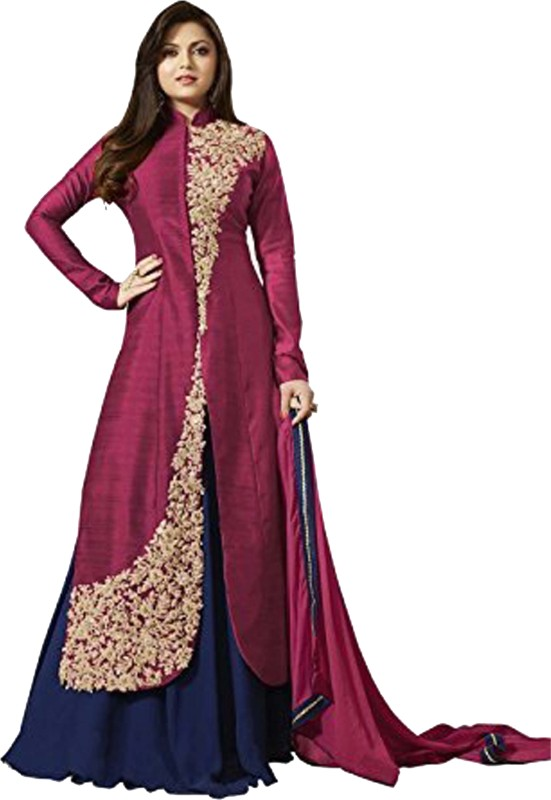 aryan fashion store Art Silk Embroidered Salwar Suit Dupatta & Waistcoat Material(Un-stitched)