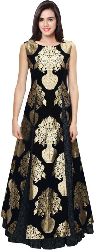 KMOZI Jacquard Printed Semi-stitched Gown