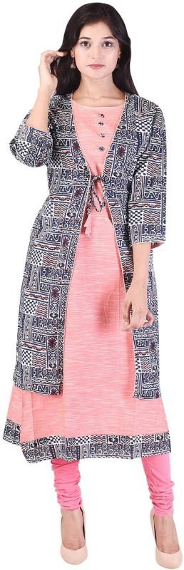 Crazora Casual Printed Women's Kurti(Pink)