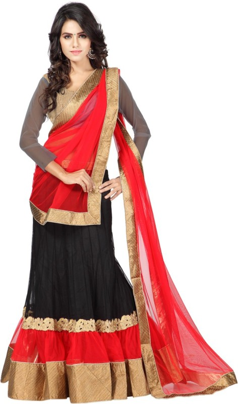 Anu Clothing Solid Lehenga Choli(Black)