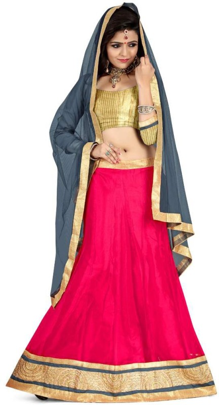 Anu Clothing Solid Lehenga Choli(Red)