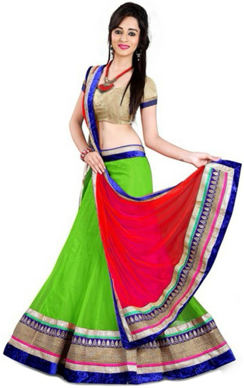 Anu Clothing Solid Lehenga Choli(Green)