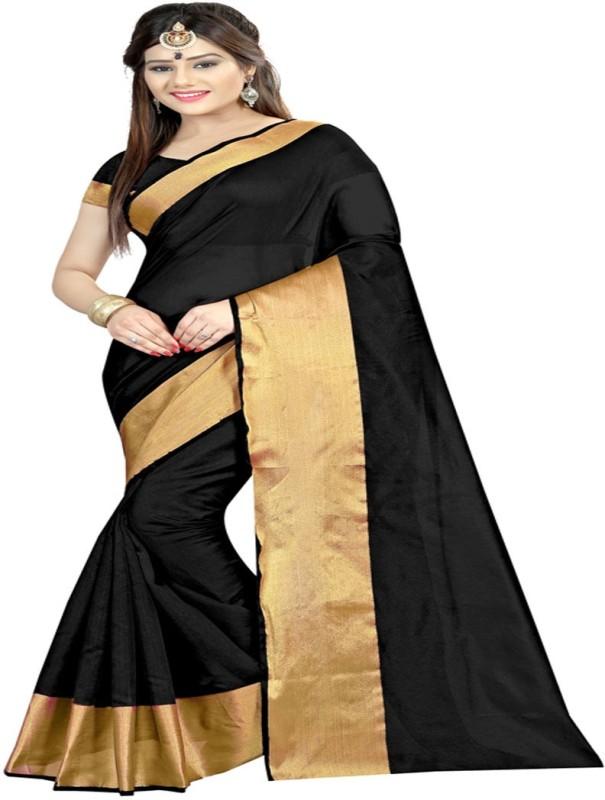 Radiance Star Plain Assam Silk Kota Cotton Saree(Black)