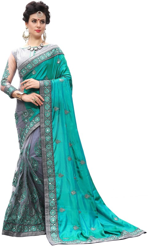Pragati Fashion Hub Embroidered Fashion Silk, Net Saree(Beige, Grey)