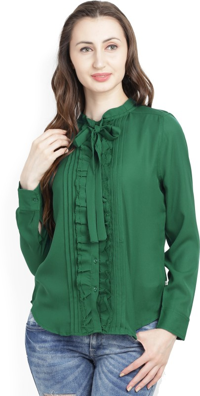 United Colors of Benetton Womens Solid Casual Dark Green Shirt