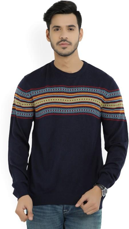 Wills Lifestyle Self Design Round Neck Casual Mens Dark Blue Sweater