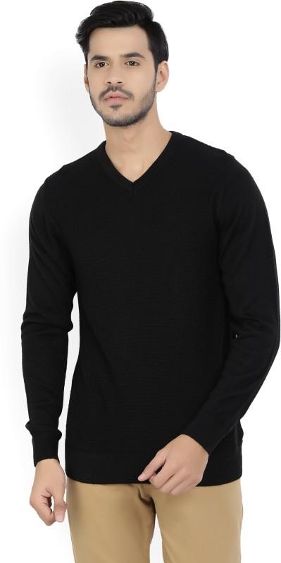 Allen Solly Self Design V-neck Casual Mens Black Sweater