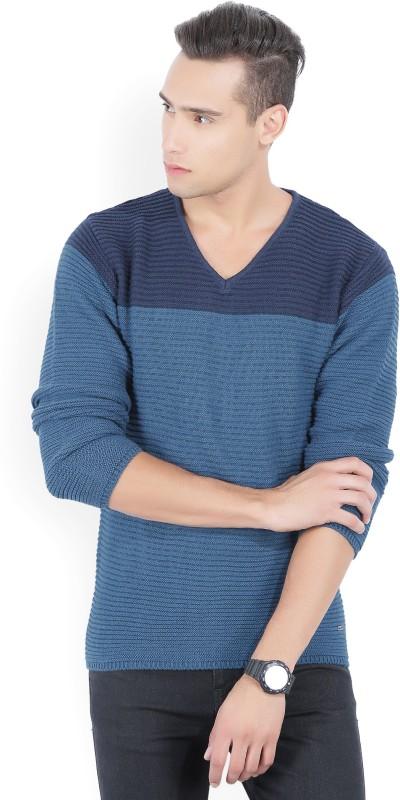 Numero Uno Self Design V-neck Casual Mens Blue Sweater