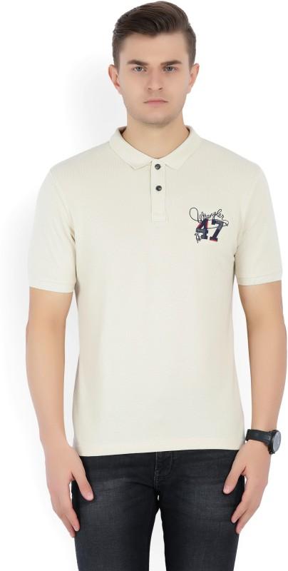 Wrangler Solid Mens Polo Neck Beige T-Shirt