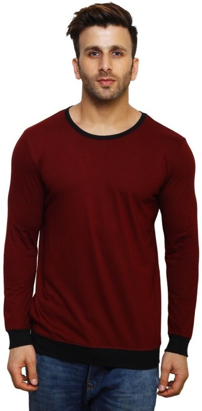 Inkovy Solid Men's Round Neck Maroon, Black T-Shirt