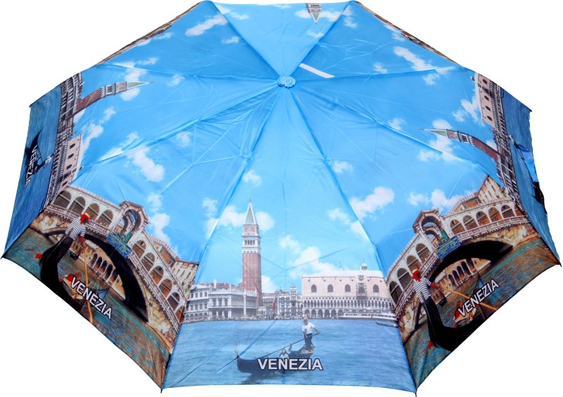 FabSeasons Venezia city Printed 3 fold Umbrella for all Seasons Umbrella(Multicolor)
