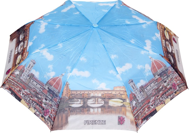 FabSeasons Firenze City Printed 3 fold Umbrella for all Seasons Umbrella(Blue, Light Blue)