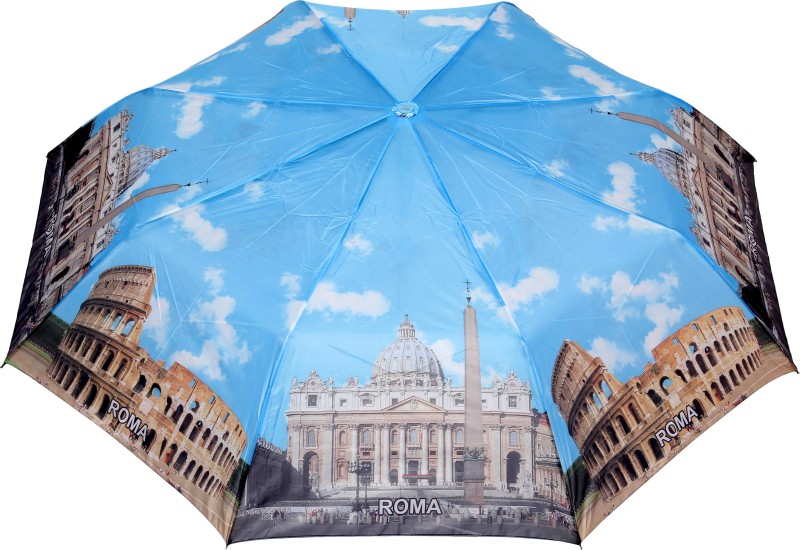 FabSeasons Rome City Printed 3 fold Umbrella for all Seasons Umbrella(Blue, Brown)