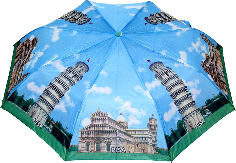 FabSeasons Pisa Printed 3 fold Umbrella for all Seasons Umbrella(Blue)