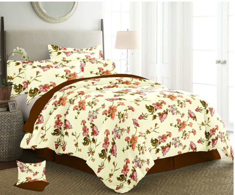 The Intellect Bazaar 150 TC Cotton Double King Printed Bedsheet(1 Double Bedsheet with 2 pillow covers, Orange)