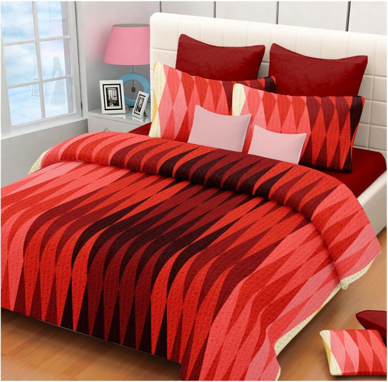 The Intellect Bazaar 150 TC Cotton Double King Printed Bedsheet(1 Double Bedsheet with 2 pillow covers, Red)