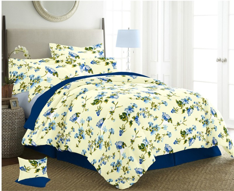 The Intellect Bazaar 150 TC Cotton Double King Printed Bedsheet(1 Double Bedsheet with 2 pillow covers, Blue)