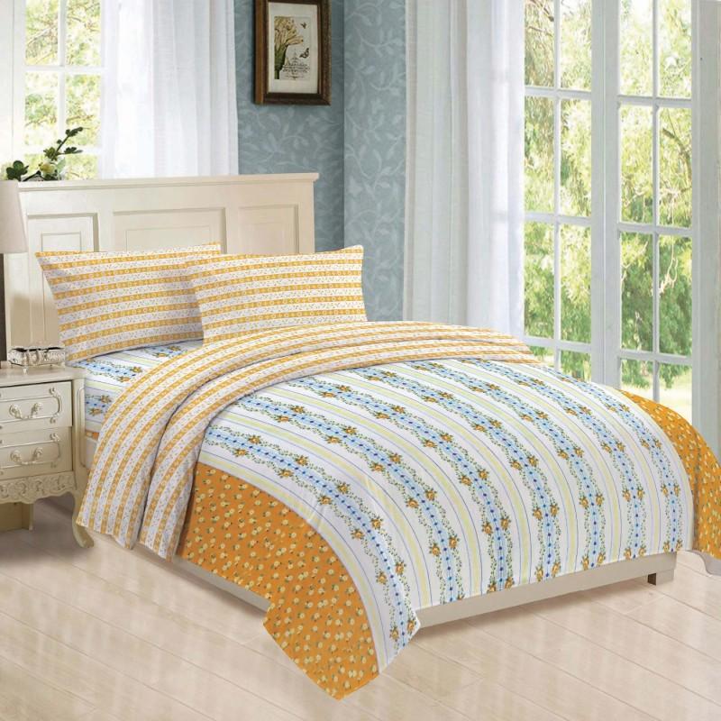 BLUSH 144 TC Cotton Double Geometric Bedsheet(Pack of 15, YELLOW & white)