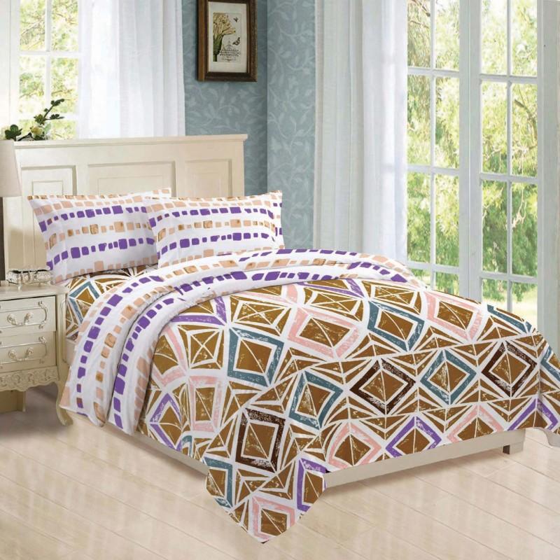 BLUSH 144 TC Cotton Double Geometric Bedsheet(Pack of 12, YELLOW & white)