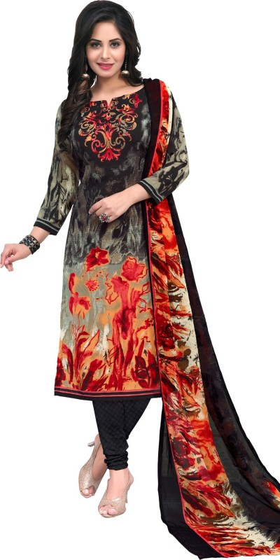 Salwar Studio Synthetic Floral Print, Checkered, Printed Salwar Suit Dupatta Material(Un-stitched)
