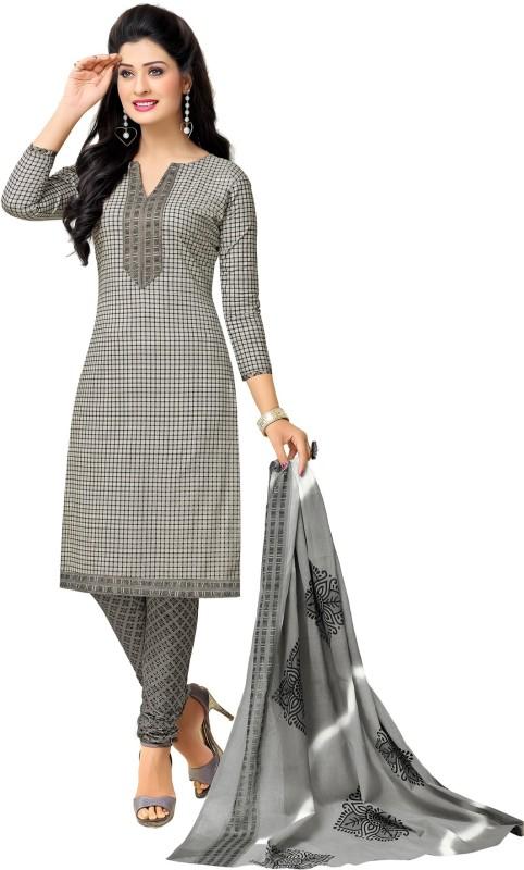 Salwar Studio Cotton Checkered, Floral Print, Printed Salwar Suit Dupatta Material(Un-stitched)
