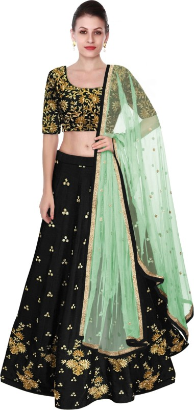 Fabron Embroidered Lehenga Choli(Black)