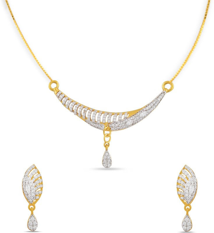 P.N.Gadgil Jewellers Yellow Gold Crescent Tanmaniya 22kt Cubic Zirconia Earring & Pendant Set