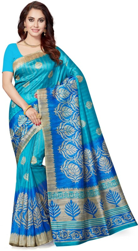 Ishin Floral Print Bollywood Art Silk Saree(Multicolor)