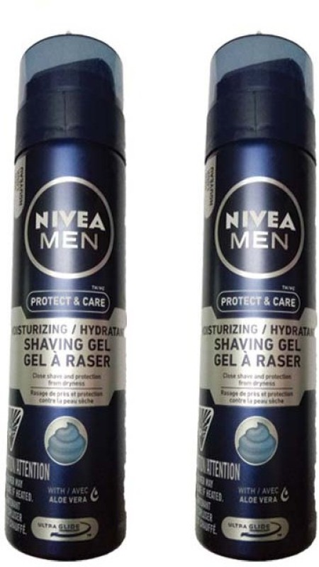 Nivea MEN PROTECT & CARE MOISTURIZING/HYDRATANT SHAVING GEL 198 GM ( PACK OF 2 )(198 g)