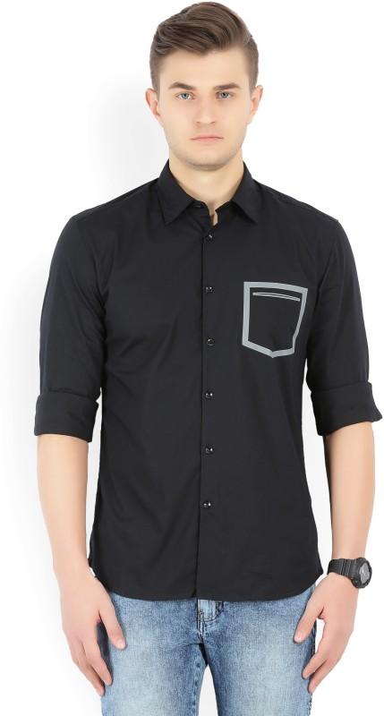 Parx Men Solid Formal Black Shirt