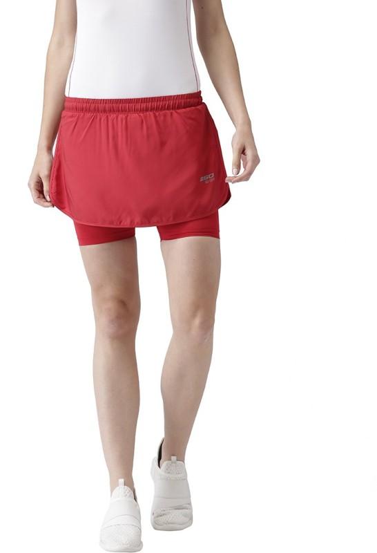 2Go Solid Women Skorts Red Skirt
