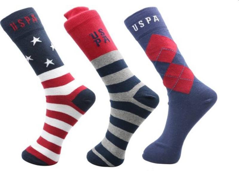 U.S. Polo Assn Men Crew Length Socks(Pack of 3)