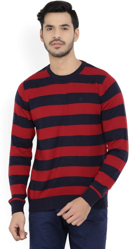 Allen Solly Striped Round Neck Casual Mens Red, Blue Sweater