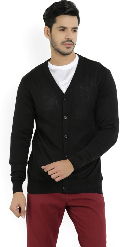 Allen Solly Solid V-neck Casual Mens Black Sweater