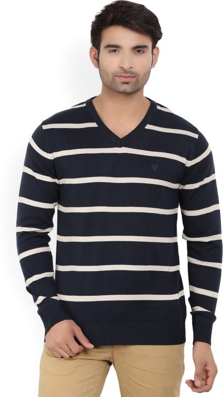 Allen Solly Striped V-neck Casual Mens Dark Blue Sweater