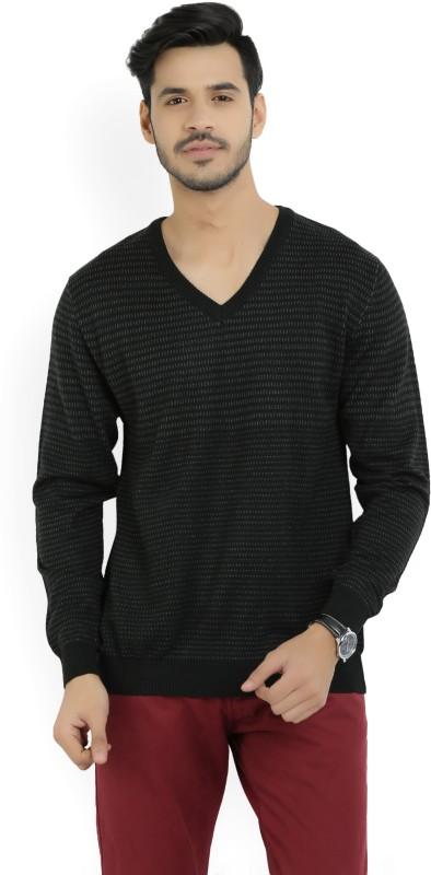 Wills Lifestyle Self Design V-neck Casual Mens Black Sweater