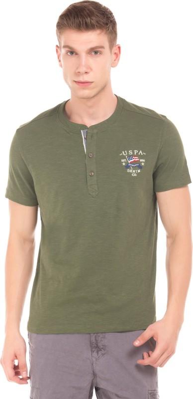 U.S. Polo Assn Printed Men Henley Green T-Shirt