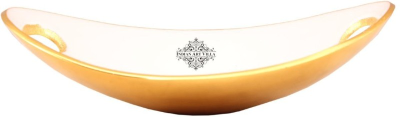 IndianArtVilla Aluminium Bread Basket(Gold, White)