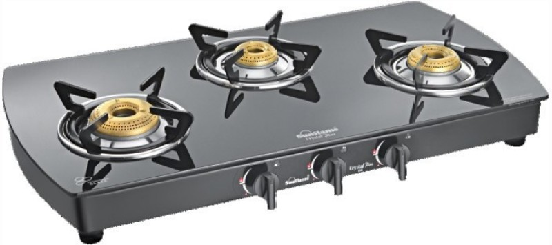 Sunflame Crystal Plus Dx 3B BK auto Glass Automatic Gas Stove(3 Burners)