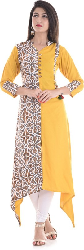 Stylum Casual Floral Print Women Kurti(Yellow, White, Brown)