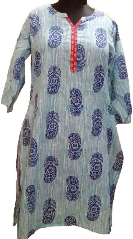 jhoomar Casual Printed Women's Kurti(Light Blue)