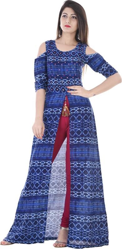 3. Stylum Casual Bandhni Print Women Kurti(Dark Blue)