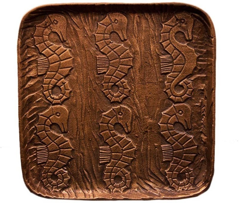 Craftedindia Sea Horse Carved Design Brass Serving Platter Tray
